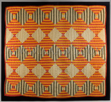 Mounted log cabin crib quilt in the Courthouse Steps pattern c. 1860
