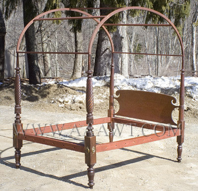 Field Bed, Canopy Bed, Tester, Federal, Carved, Original Condition  Massachusetts Circa 1815 To 1825   SOLD