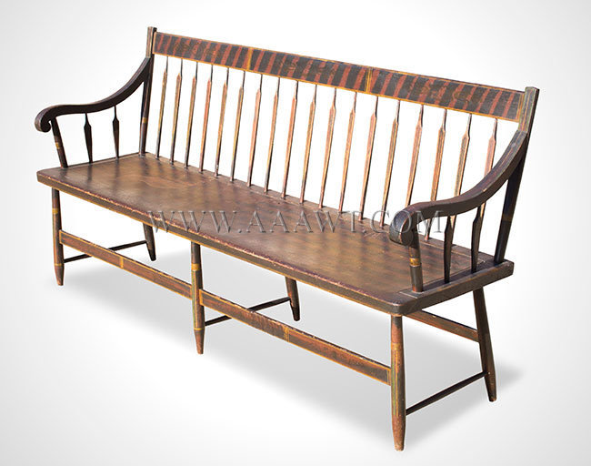 Bench Windsor Settee Paint Decorated Arrow Back Scrolled Arms New England Circa 1825 To 1840 Retaining Original Broad Black Brush Strokes