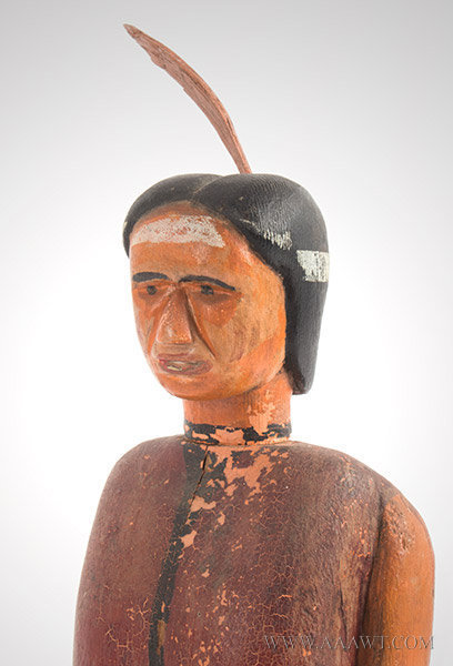 Folk art carving native american indian feature
