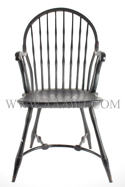 Bow Back Windsor Armchair Rare Curved Front Stretcher