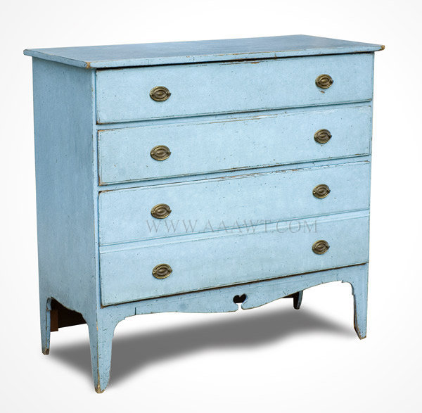 Chest Of Drawers Blue Paint Original Bres Hepplewhite New England Early 19th Century Maple Poplar And White Pine Sold