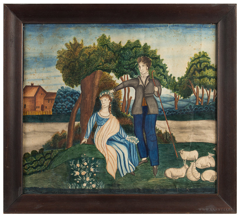 Folk Art Courting Scene, Shepherd & Shepherdess, New England, Early 19th Century  Watercolor on paper; bright color, entire view
