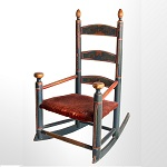 Antique Rocking Chair, Child's, Original Red, White and Blue Paint New England, circa 1800-1840 Best paint, splats display strawberry decoration