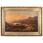 Antique Painting, Hudson River Valley Landscape by James B. Hope (1818-1892) Oil on canvas, original stretcher and gilt frame