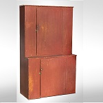 Antique Step-Back Cupboard, Original Red Paint and Brass Hardware New England, Early 19th Century
