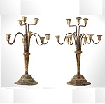 Vintage Candelabrum, Shabby Chic, Wood, Iron, Gesso and   Paper