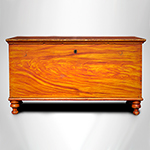 Antique Sheraton Paint Decorated Blanket Chest, Turned Feet Likely Lancaster County, Pennsylvania, 1800-1840 		Poplar, butternut till