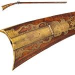 """Antique, Kentucky Rifle, Lehigh Valley, Zionsville,   Pennsylvania, Jacob Bacher Patchbox signed """"JB"""", attributed to Jacob Bacher (1760-1813)1 .44-caliber, 44.75"""" octagonal barrel with rifled bore; overall   superfine condition"""