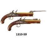 "Brass Barreled Original Flintlock Pistols, Pair, Folding   Bayonets, Thomas & Storrs London, Circa 1820 18-guage., approximately .64-caliber., Overall: 13.5"", barrels:   8"" octagon"