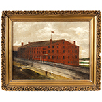 Nineteenth Century Painting of Libby Prison, Richmond, Virginia Signed R. Russell, 1869