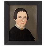Folk Art, Prior Hamblin School Portraits, Bearded Man and Blue-  Eyed Woman William Mathew Prior, Mid-19th Century