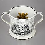 Frog Mug, Transfer Printed, Battle Scenes, Pearlware, Two Handle Staffordshire 19th Century (1854'ish)
