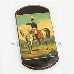 Cigar Case; Papier Mache, Zachary Taylor on Horseback, Battle of   the Rio Grande Circa 1846 to 1850
