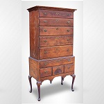Antique Highboy, Massachusetts, Original Surface & Hardware, Time Capsule Condition 18th Century, Lower   Merrimack Valley, Bartlett School, Merrimack-Haverhill Area   Cherrywood [primary] maple and pine, original brown wash, drop-  finals and knee returns!