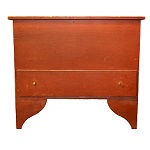 Antique Painted Blanket Chest on Tall Ogee Cutout Feet,   Original Red Paint New England, Circa 1800-1825 Outstanding front and side foot profiles
