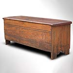 "Pilgrim Century Linen-Fold Board Chest Dated 1697, Initialed ""SL"" Massachusetts, Connecticut River Valley Yellow Pine"