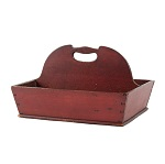 Antique Shaker Utensil Carrier, Cutlery Box, Original   Bittersweet/Red Paint Mount Lebanon, New York, 19th Century (Maple)