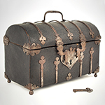 Antique Domed Coffret, Sharkskin, Shagreen Covered Domed  Casket, Ironbound French, circa 1700 Extremely rare casket on ball feet, iron strapwork, double  hasp lock, silk damask interior