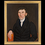 Man Holding a Red Bible, Attributed to Royal Brewster  Smith, Folk Portrait Likely Maine, Circa 1830 Oil on canvas