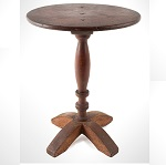 Antique Candlestand, Oval Top, X-Form Base, Turned Pedestal,   Original Surface New England, Circa 1680-1730