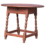William and Mary Tavern Table, Old Red Paint New England, Likely Massachusetts, Early 18th Century Maple and white pine