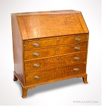 Desk, Federal Slant Front, Curly Maple, Boldly Striped, French  Feet New England, Circa 1790 to 1810 Nicely figured wood including interior