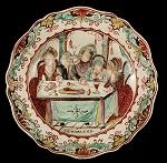 English Creamware Plates, Dutch Decorated, Prodigal Son, Scalloped Edge Circa 1780-1800 Demi-flowerhead border within a scalloped molded edge