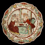 English Creamware Plates, Dutch Decorated, Prodigal Son, Scalloped Edge Circa 1780-1800 Demi-flowerhead border within a scalloped molded edge…