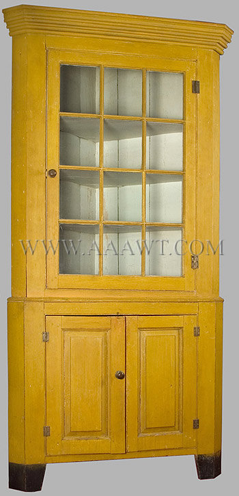 A Circa 1810 1825 New England Corner Cupboard In Original Yellow Paint    SOLD