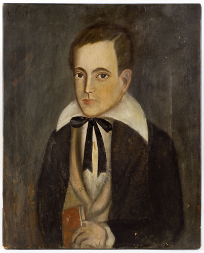 Folk Art Portrait, Young Boy Holding Red Book Confidently Attributed: Ralph D. Curtis (1808-1885) New York State Oil on hand hewn cleated poplar panel, entire view
