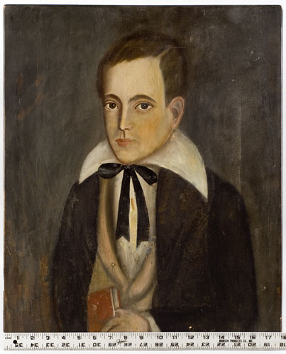 Folk Art Portrait, Young Boy Holding Red Book Confidently Attributed: Ralph D. Curtis (1808-1885) New York State Oil on hand hewn cleated poplar panel, scale view