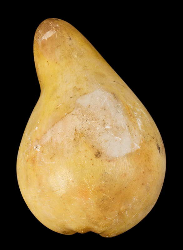 Stone Fruit, Pear Half, Carved Marble, Painted American, circa 1860-1900, entire view 2