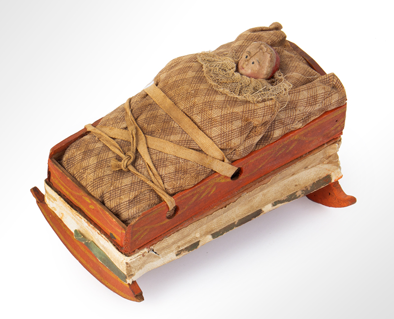 Squeak Toy, Pipsqueak, Baby in Cradle, Hand Painted  German, 19th Century…a scarce example, entire view 3