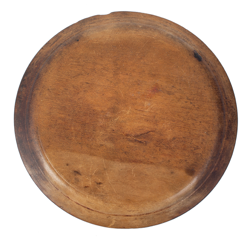 18th Century Treen Dish, Wooden Plate New England, circa 1770-1800 Maple, bottom view