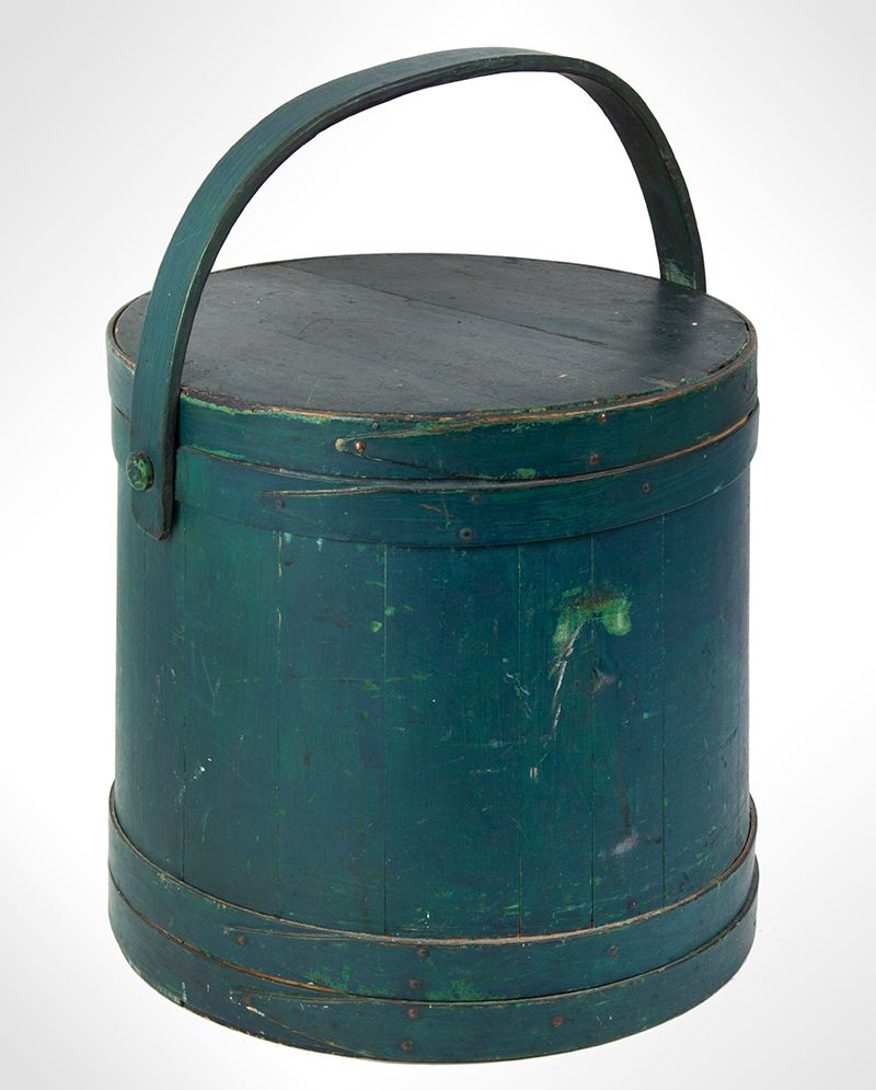 Firkin, Sugar Pail, Flour Bucket, Original Surface History, Lapped, Wood Strap Handle New England, 19th Century  Antique forest green over apple green paint, nice surface!, entire view 1