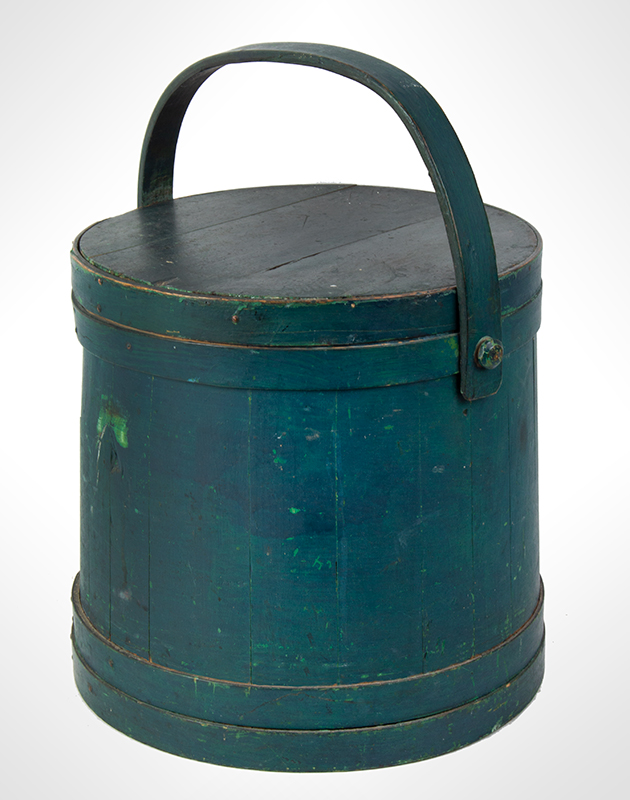 Firkin, Sugar Pail, Flour Bucket, Original Surface History, Lapped, Wood Strap Handle New England, 19th Century  Antique forest green over apple green paint, nice surface!, entire view 2