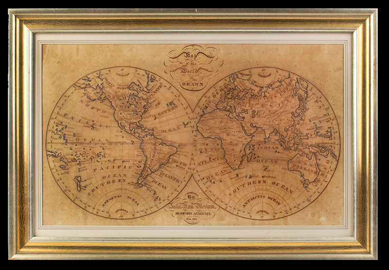 Map of the World Drawn Julia Ann Meriam (1804-1889), Bradford Academy, Nov. 1821  Ink and tinted colors on paper, entire view