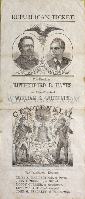 Handbill Rutherford B. Hayes New Hampshire, entire view