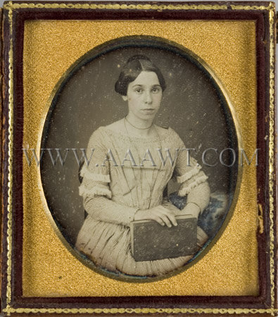 Sixth Plate Daguerreotype Young Woman Holding a Book, entire view