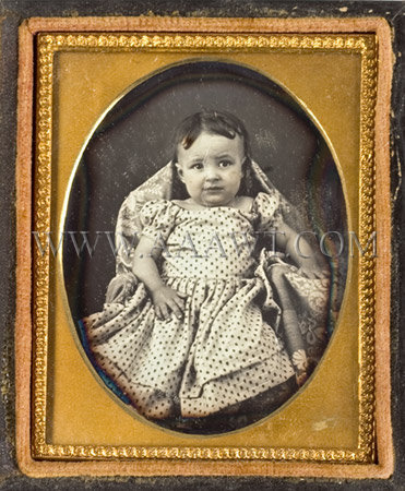 Young Child In Printed Dress Daguerreotype Sixth Plate, entire view