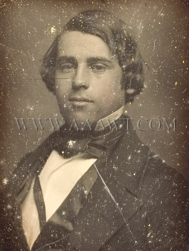 Handsome Young Man Early Daguerreotype Quarter Plate, entire view