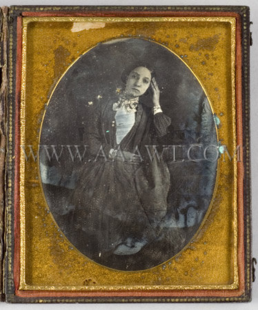 Seated Woman Early Daguerreotype Quarter-Plate, entire view