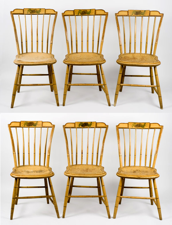 19th Century, Matched Set, Windsor Dining Chairs, Painted New England, circa 1810-1820 Shaped Tablets…stepped-down ends, group view