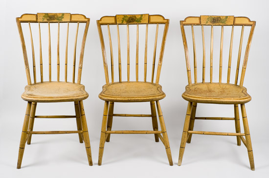 19th Century, Matched Set, Windsor Dining Chairs, Painted New England, circa 1810-1820 Shaped Tablets…stepped-down ends, entire view 2