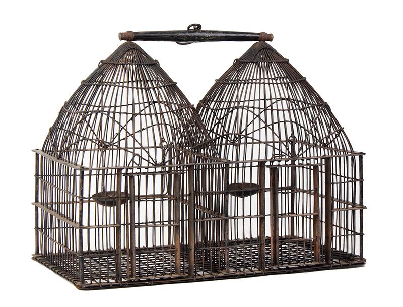 Vintage Double Dome Birdcage, Two Apartments, Fine Construction Unknown Maker, entire view 1