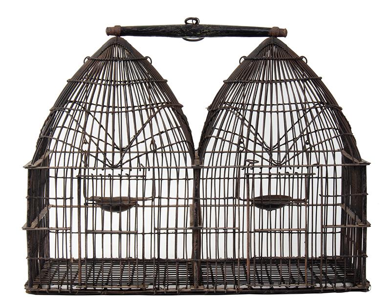 Vintage Double Dome Birdcage, Two Apartments, Fine Construction Unknown Maker, entire view 3