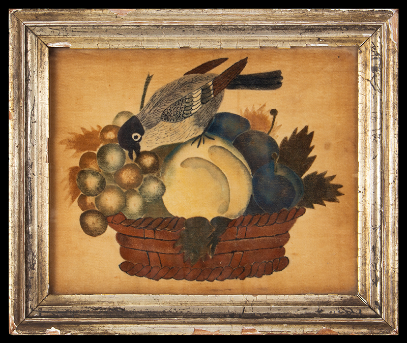 Theorem, Still Life, Fruits and Bird in Basket, Small Size, Original Condition New England, 19th Century Stenciled and freehand composition, strong color, rare size, entire view