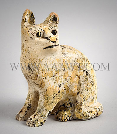 Antique Carving, Small Cat, Painted Decoration, angle views