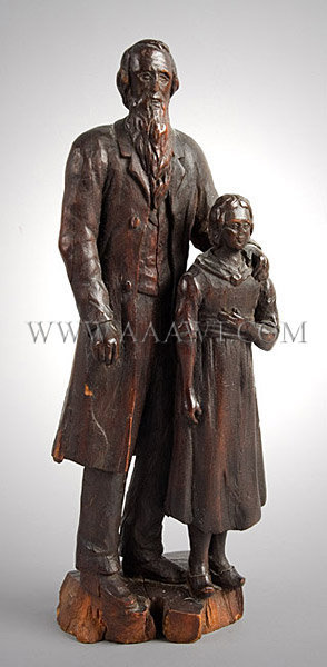 Antique Carving, Old Man and Girl Figure, entire view